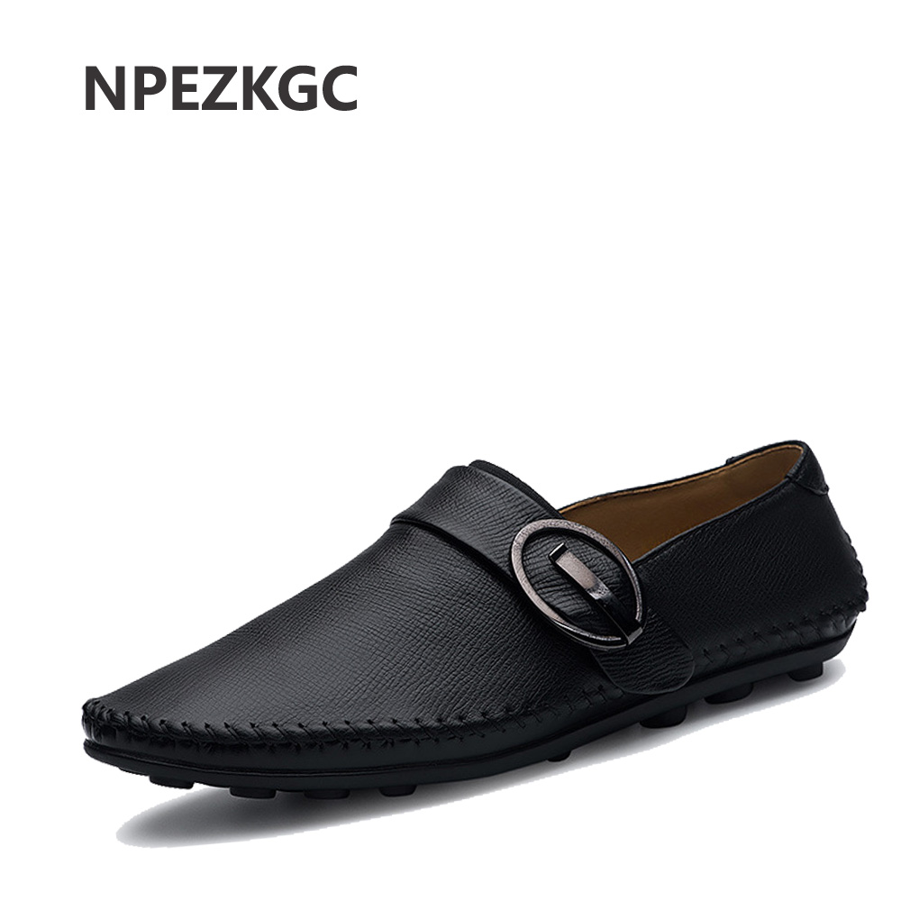 NPEZKGC Man Moccasin Breathable Men's Loafers Designer Flat Soft Leather Shoe Fashion Boat Shoes Luxury Brand Hot Sales manitobah мокаксины sunshine moccasin женские бежевый