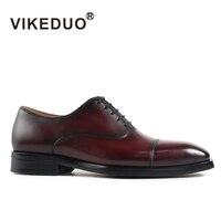 Vikeduo 2018 Винтаж формальные офисные туфли для Для мужчин из натуральной кожи модные свадебные брендовые ручной работы мужская обувь Оксфорд