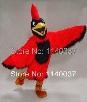 Parrot cardeal traje da mascote da mascote vermelho brilhante desempenho das aves mascotte mascota outfit suit partido cosply fancy dress