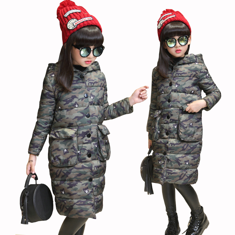 Girls Thick Camouflage Winter Jacket for Girls Long Outwears Cotton Padded Hooded Winter Coat Child Windbreaker Coats Parka 2017 children with thick warm coat baby girls winter cotton padded clothing child thick fur collar hooded long coats jacket tide