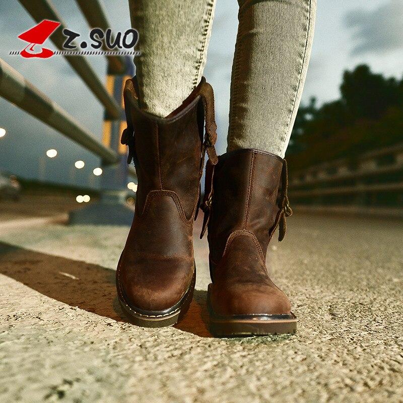 Z. Suo en cuir véritable caoutchouc hiver femmes bottes mode mi-mollet bottes femmes en cuir de vache chaussures femme marron femme bottes Q992N