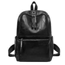 YGDB Women Backpack Black PU Leather Casual Travel School Satchel Rucksack Female Vintage Teenagers Book Bags Preppy XH1078 preppy women s satchel with solid color and pu leather design
