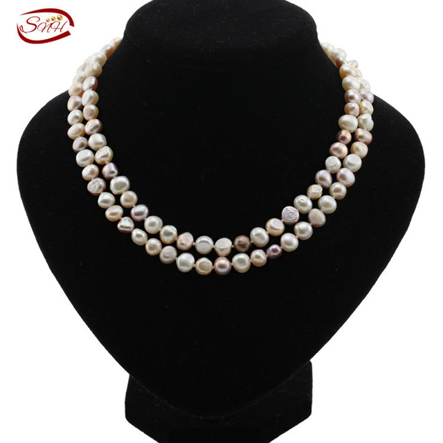 100% Freshwater Pearl Necklace For Women White Natural Pearls Jewelry necklace c