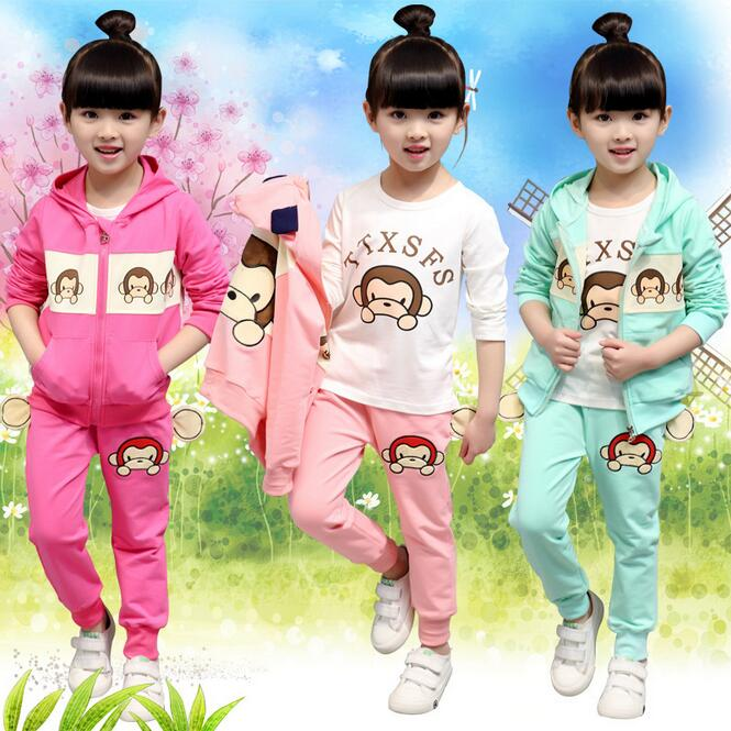 ФОТО Spring Children 's Clothing Autumn New Sports Suit Cartoon Cute Costume For Girls Three - piece Long - sleeved Ensemble Fille