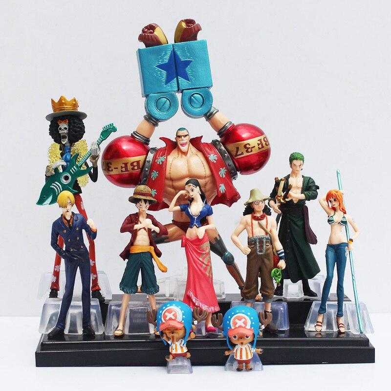 10 pçs/set Frete Grátis Japonês Anime One Piece Action Figure Coleção 2 ANOS MAIS TARDE luffy nami roronoa zoro mão- bonecas feitas