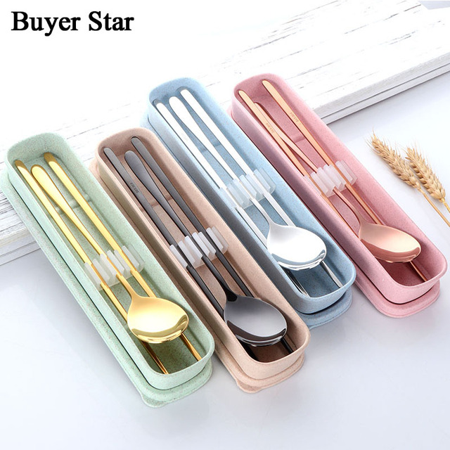 Portable Silverware Wheat Box Travel Camping Cutlery Rose Gold Tableware  Stainless Steel Gold Dinnerware Outdoor Dinner