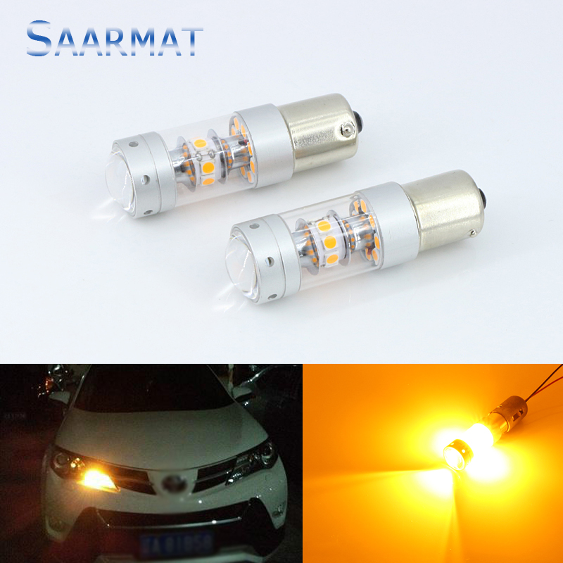 2pcs Amber Yellow Error Free LED 1156 P21W LED Bulbs For car Front or Rear Turn Signal Lights Daytime Running Lights 2pcs error free amber yellow py21w 7507 150 degree led bulbs turn signal lights for 2004 skoda octavia 3