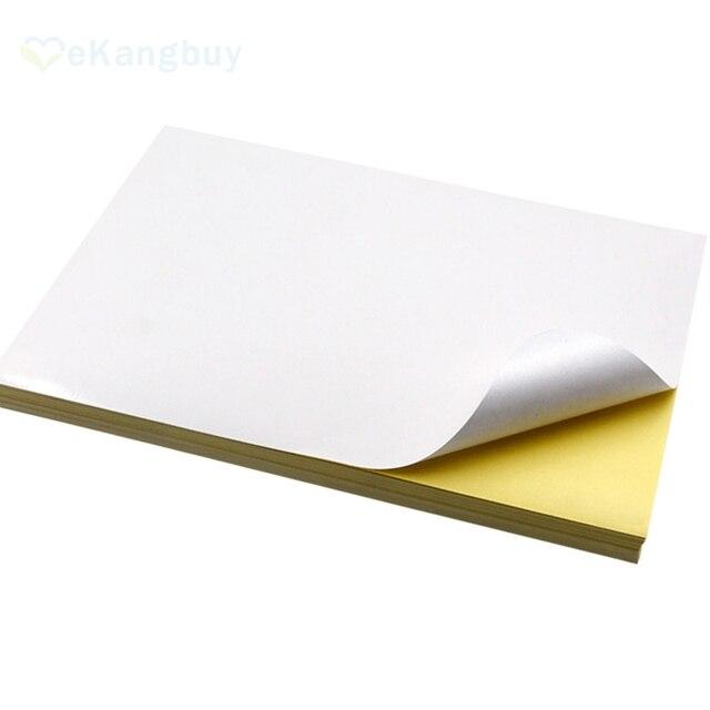 50 시트 A4 흰색 접착제 종이 Gossy 매트 마무리 DIY 인쇄 라벨 종이 스크랩북 공예 종이