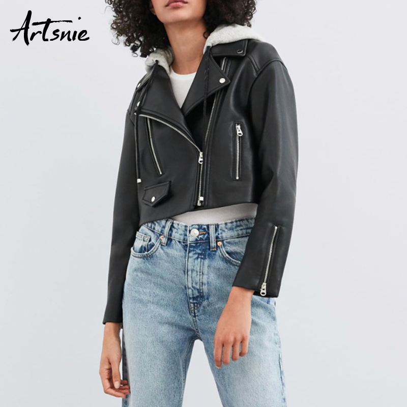 Artsnie black casual   leather   pu jacket women hooded long sleeve pockets streetwear Motorcycle jackets Jaquetas Feminina 2019