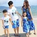 Бесплатная Доставка Летом семьи сопоставления одежда Спорт девушки мать платье Синие Платья отца Мальчик майка Шорты нижнее