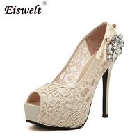 EISWELT Women S High Heels Sexy Peep Toe Lace Party Shoes Crystal Hollow Platform Bowtie Pumps
