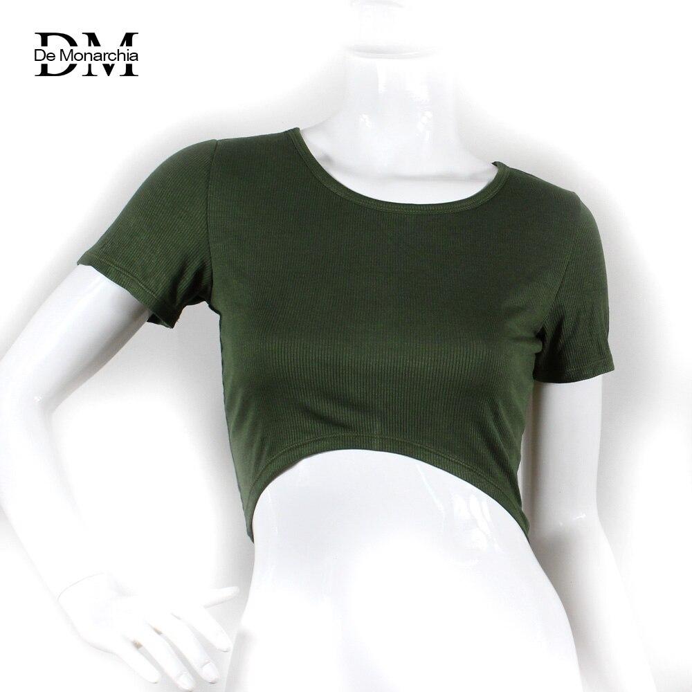 De Monarchia Summer Classic Women Crop Tops Big Yarn Soft Fabric Breathable O-Neck Cloth Short Sleeve Solid T-Shirt Curve Bottom