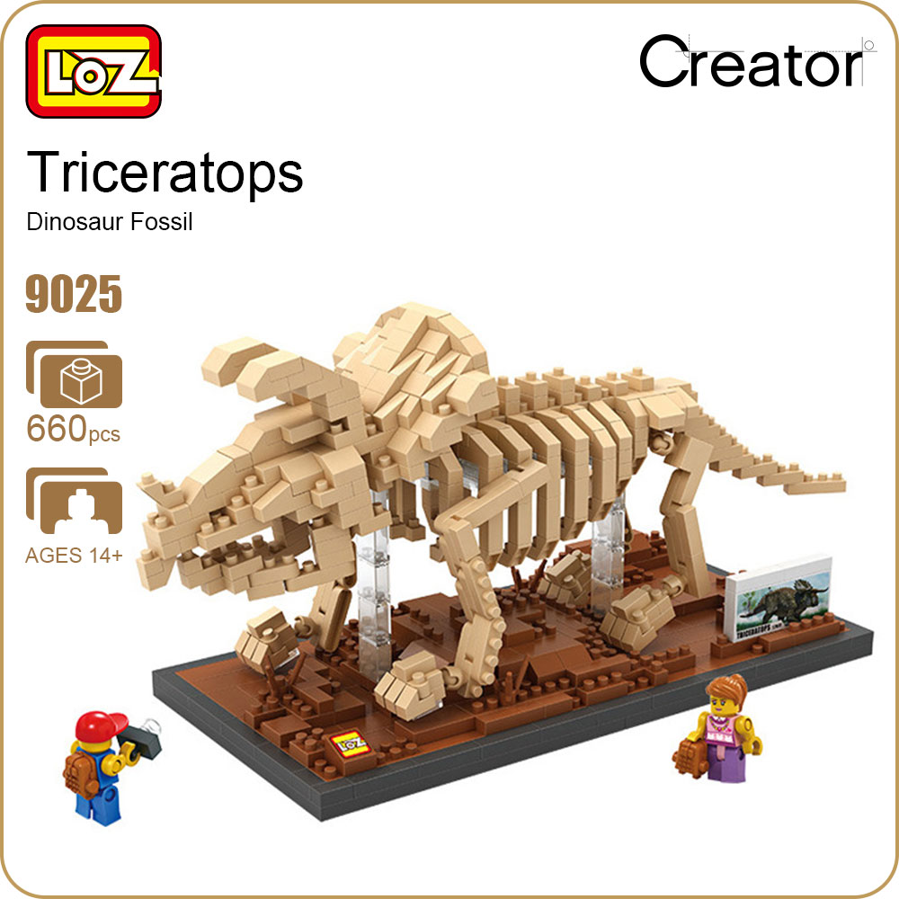 LOZ Diamond Blocks Creator Mini Micro Building Bricks Triceratops Skeleton Dinosaur Fossil Toys Animals Model Museum Gift 9025 loz diamond blocks assembly display case plastic large display box table for figures nano pixels micro blocks bricks toy 9940