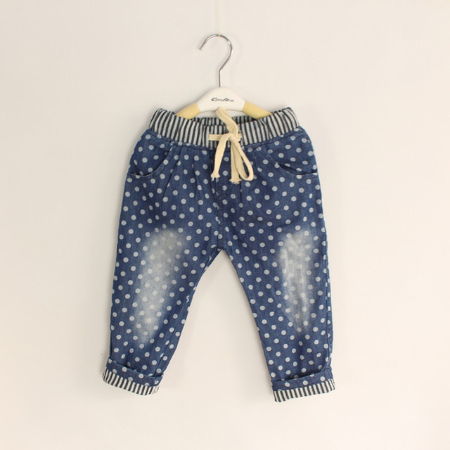 Wholesale 6pcs/lot Baby  Dot Denim Jeans  Long Pants Boys Girls Casual Trousers Soft And Thin