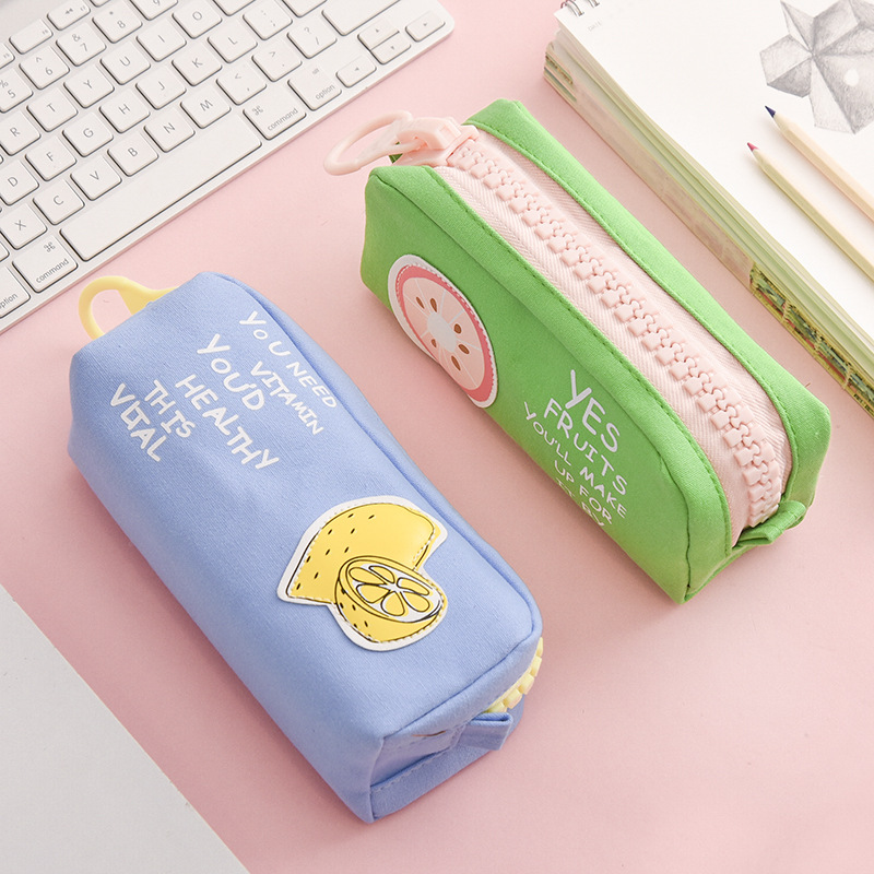 Big Zipper Fruit Pencil Bag Lemon Pineapple Canvas School Pencil Case Stationery Organizer Storage Bags For Pens Office A6628