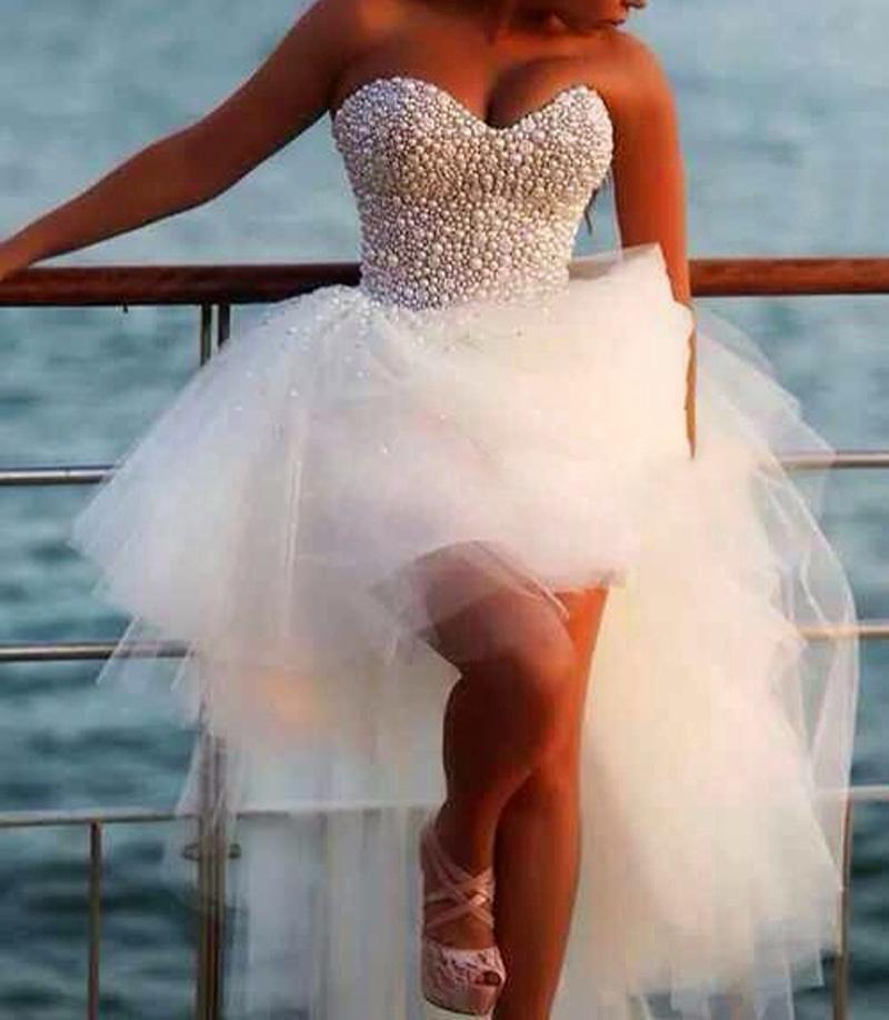 Vestido De Noiva Sexy Pearl Beading Tops Prom Gown Sweetheart White Tulle Short Front Long Back Style Wedding Party Dress