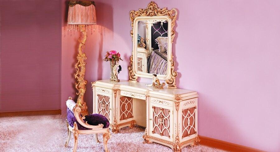 Estilo europeo de lujo tallado en madera tocador espejo - Sillas para tocador ...