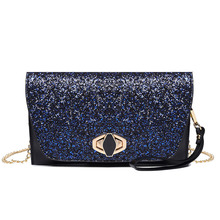2019 hot women evening bags patchwork clutch purse with chain bling wedding dinner for ladies