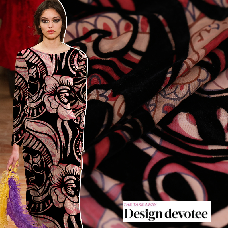Custom High-quality Hollow Hollow Silk Burnout Fabric Silk Velvet Fabric Silk Clothing Cheongsam Fabric Features Fashion Cloth