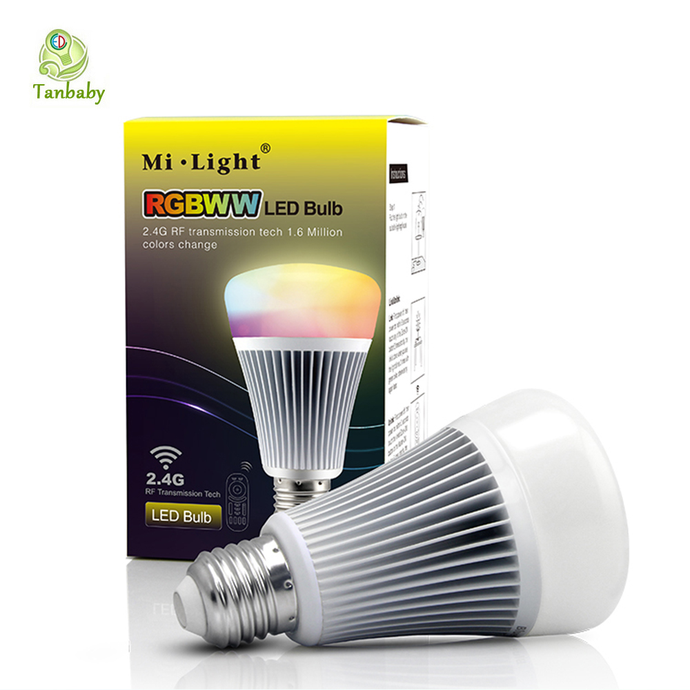 Tanbaby Mi.light Wireless E27 Smart Bulb 8W RGB + Color temperature changing 85-265V Dimmable RGBWW LED Lighting Lamp tanbaby 4 5w e27 rgbw led light bulb bluetooth 4 0 smart lighting lamp color change dimmable for home hotel ac85 265v
