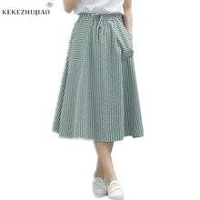 Stripe Skirts Casual Loose Cotton Linen Saia Skirt New Sprin
