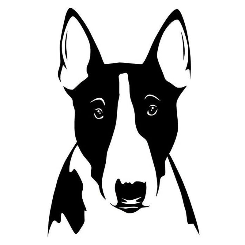 10*15.1 CM Bull Terrier Perro Divertido Animal Decoración de La Ventana Etiqueta