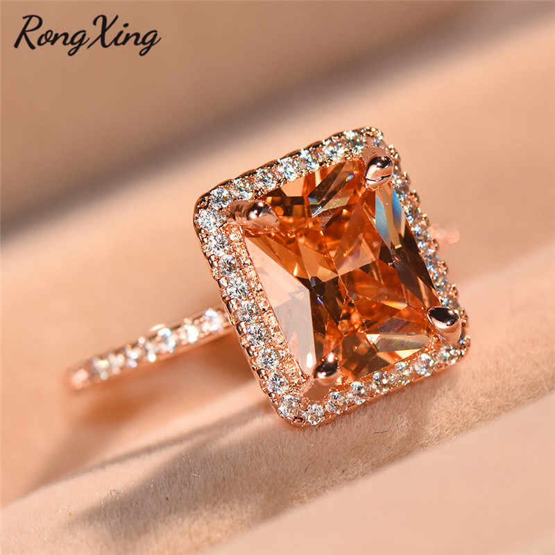RongXing Fashion Big Stone Square Rings For Women Champagne Zircon Nov Birthstone Ring Bridal Wedding Jewelry 2018 New Arrivals