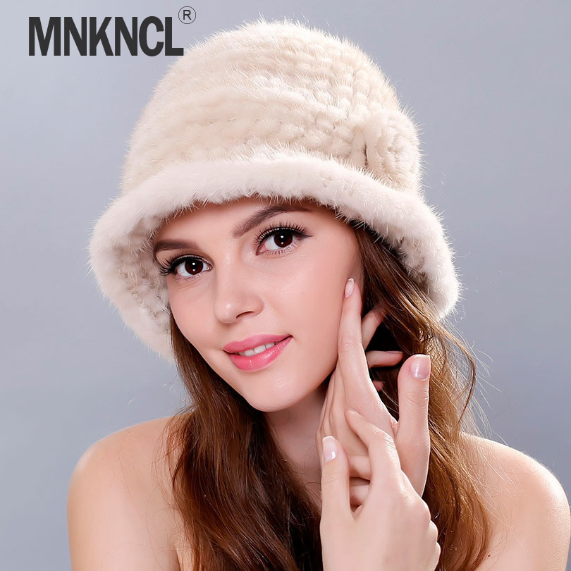 MNKNCL 2018 New knitted Caps Winter Women Lady Girl   Skullies     Beanies   Cap Thick Comfortable Real Mink Fur Hat Keep Warm