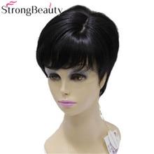 Сильный красивый короткий Синтетический прямой темный коричневый парик термостойкий женский парик