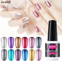CLAVUZ 8 มิลลิลิตร Glitter Neon UV Gel Super Bling เคลือบเงากึ่งถาวร Gel Lacquer Enamel Gelpolish Top Coat base Coat(China)