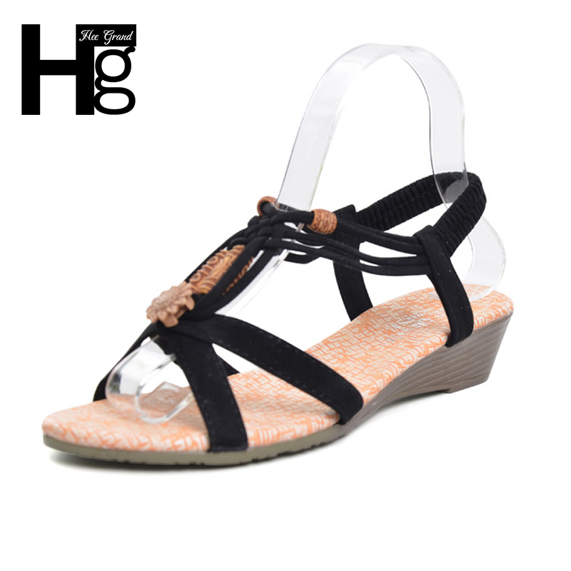 HEE GRAND 2017 Summer Vintage Women Sandals Gladiator Wedge Woman Shoes Beach Flip Flops Bohemia XWZ591 hee grand gladiator sandals summer style flip flops elegant platform shoes woman pearl wedges sandals casual women shoes xwz1937