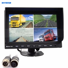 DIYSECUR 4CH 4PIN DC12V-24V 9 Inch 4 Split Quad LCD Screen Display Color Video Monitor Screen for Video Surveillance System