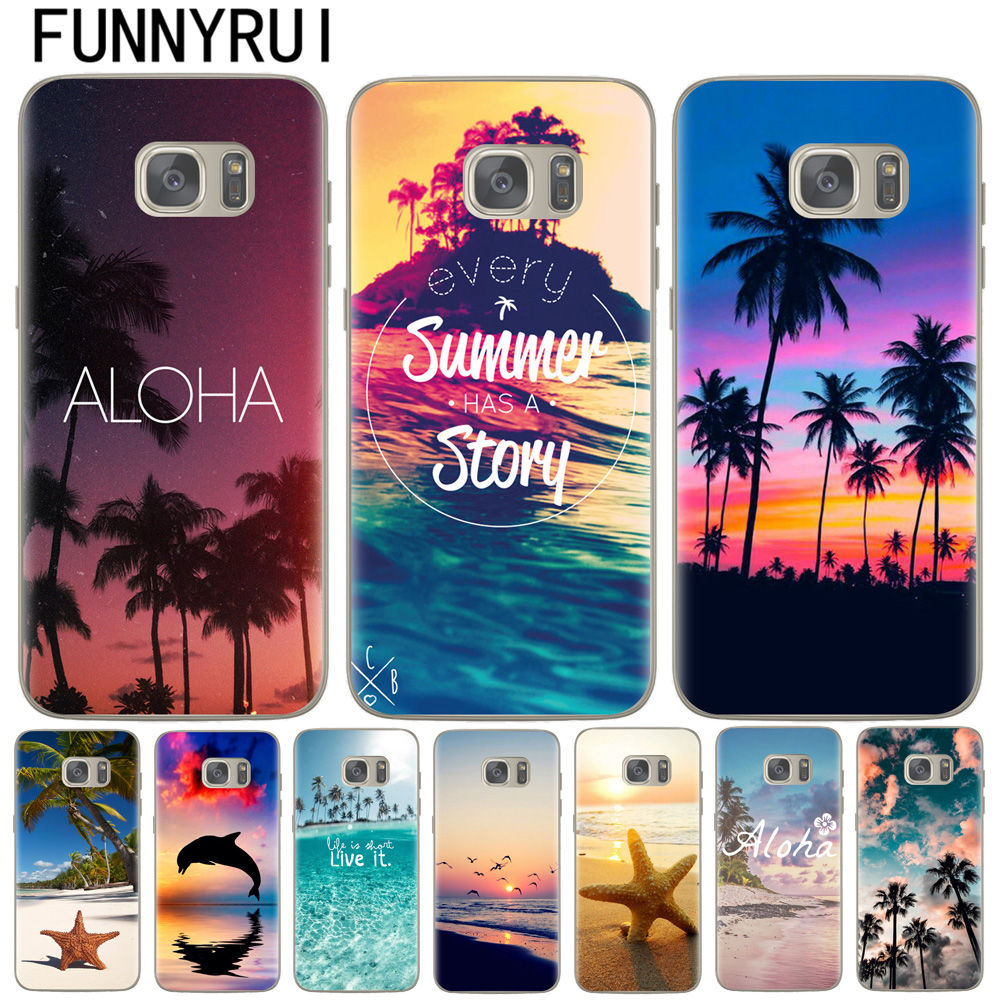 74198f7e680 Summer Beach Hawaii Aloha Sea Ocean Soft Silicone Phone Case for Samsung  Galaxy S6