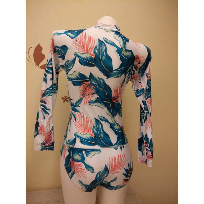 Tay Dài Đồ Bơi Nữ Rashguard Nữ Hàn Quốc Đồ Bơi Lông Vũ Hoa Lướt Áo Bơi Dành Cho Nữ Camisa UV Guarda Roupa