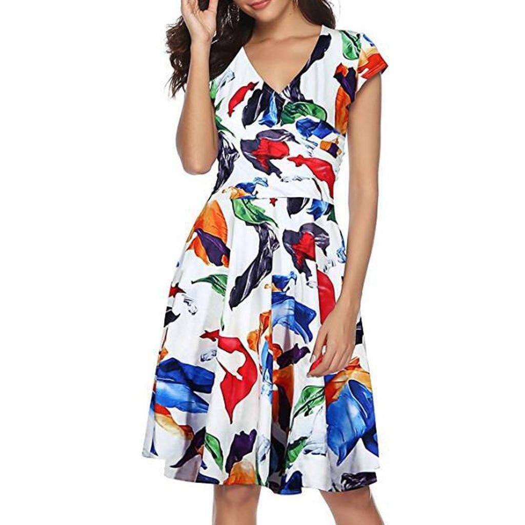 Dresses for Women V Neck Floral Printed Swing Dress Summer Casual Half Sleeve Mini Dress Sundress