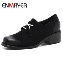 купить ENMAYER Cross-tied Shoes Woman Low Heels Pumps Size 34-40 Genuine Leather Shoes Lace-up Round Toe Black Wine Red Shoe дешево