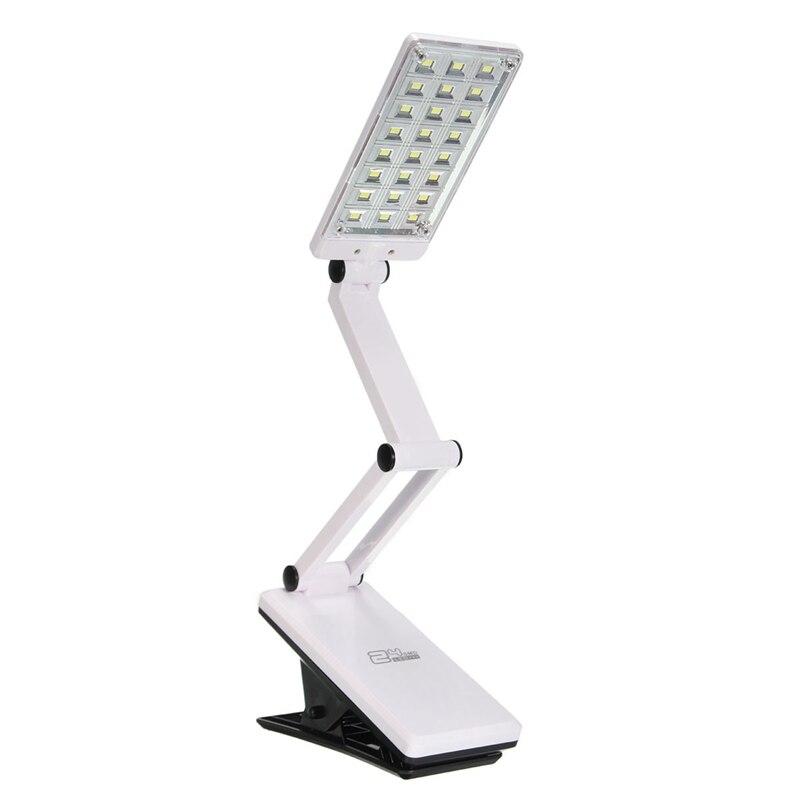 Weiß Flexible Faltbare 24 LED Tischleuchte Einstellbare Wiederaufladbare Clamp Clip Auf Studie Buch Lesen Nachttischlampe Schreibtisch Licht Batterie