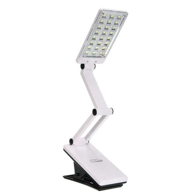 White Flexible Foldable Adjustable Rechargeable Clamp Clip On 24 LED Table Desk Lamp Study Book Reading Bedside Light Battery