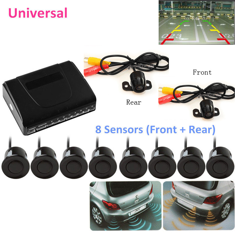 где купить YYZSDYJQ Auto Parking Sensor 8 Redars BIBI Alarm Sound Parktronic Car Rear view Camera Front camera Video car parking system дешево