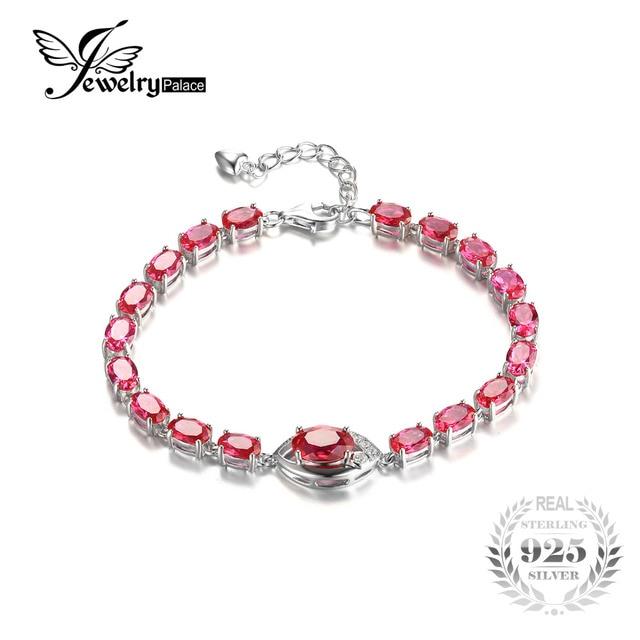 Jewelrypalace olho 10.8ct criado red ruby link pulseira de prata esterlina 925 conjunto de casamento acessórios de moda clássicos charme presente