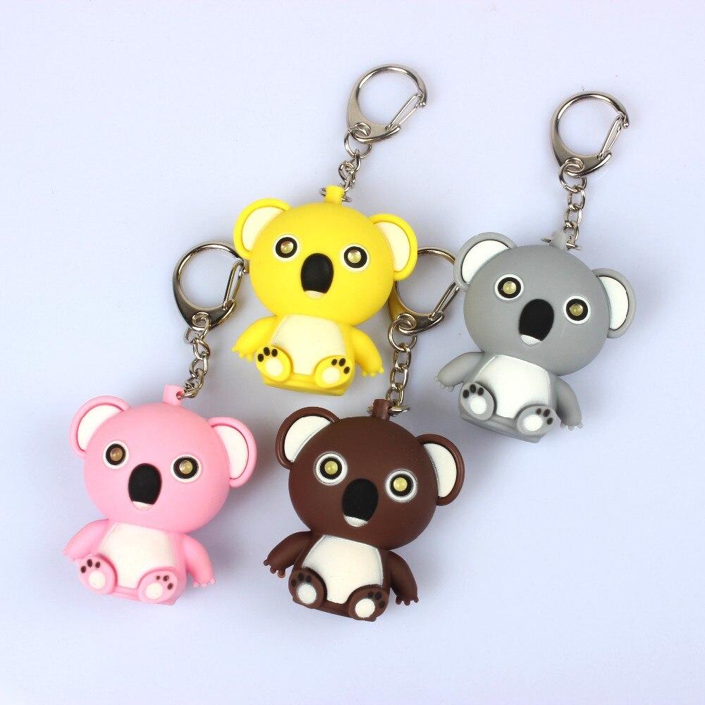 Cartoon dolls koala bear LED sound light keychain mobile phone bag pendant LED flashlight gift wholesale