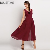 Elegant Women Summer Dress 2016 Deep V Neck Sleeveless Party Dresses Wine Red Split Chiffon Long