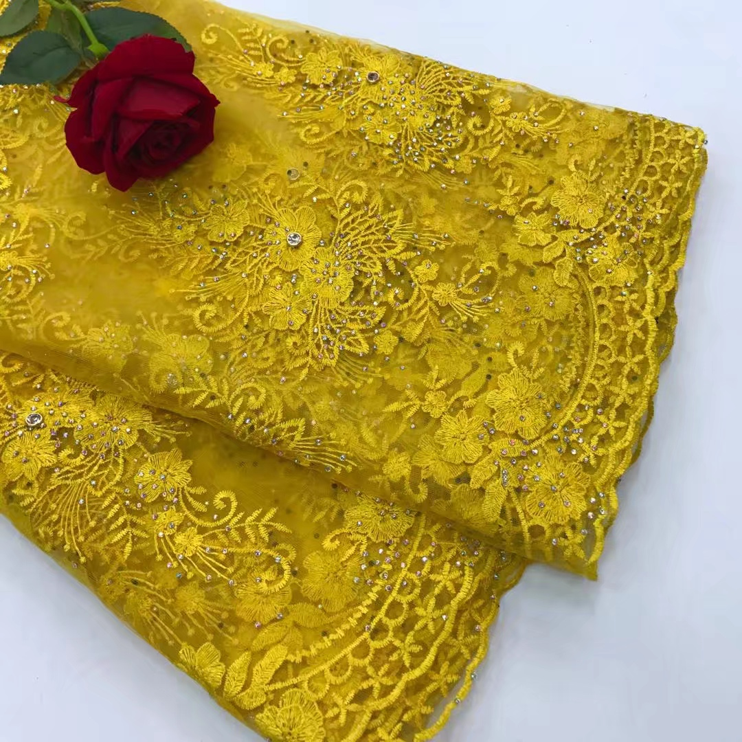BEAUTIFICAL mesh lace fabric yellow lace fabric beaded french lace fabric 2018 latest high quality 5 yards lot for party JYN266 in Lace from Home Garden