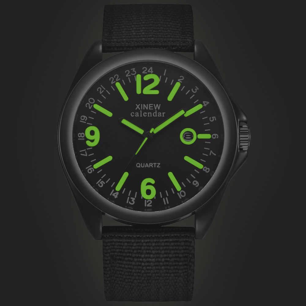 Luminous BRANDผู้ชายวันที่นาฬิกาควอตซ์นาฬิกากองทัพทหารทหารไนลอนสายคล้องคอAnalogนาฬิกาข้อมือกีฬานาฬิกาข้อมือนาฬิกาข้อมือ часы мужские