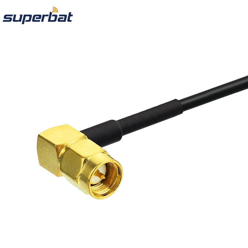 Superbat SMA Female Jack Bulkhead Connector to SMA Male Plug Right Angle RF Pigtail Extension Cable RG174 for Wifi LAN
