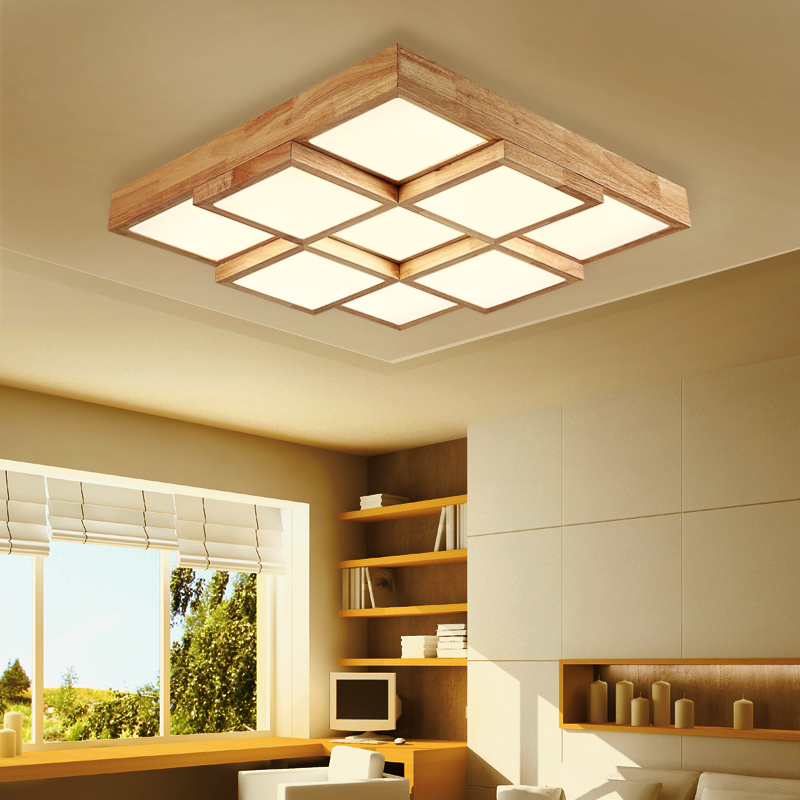 Us 151 9 22 Off Wooden Modern Ceiling Lights For Living Room Bedroom Luminaria De Teto Japanese Style Wooden Frame Ceiling Lamp Match In Pendant