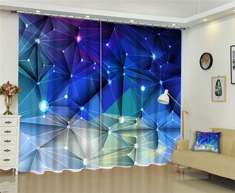 Blue Curtain Luxury Blackout 3D Window Curtains For Living