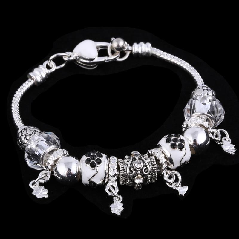 ZOSHI Pink Crystal Charm Silver Bracelets & Bangles for Women With Aliexpress Murano Beads Silver Bracelet Femme Jewelry 20