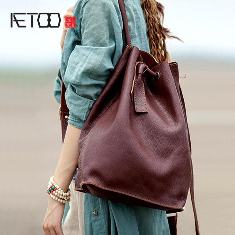Aetoo 숙녀 가죽 수제 배낭 복고풍 예술 여성 가방의 가죽 어깨 가방 여성 한국어 버전의 첫 번째 계층-에서백팩부터 수화물 & 가방 의  그룹 1