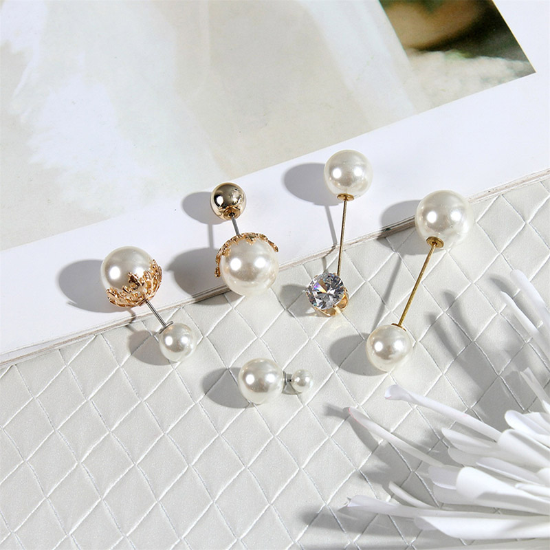 19 High Quality Vintage Gold Brooch Pins Double Head Simulation Pearl Large Big Brooches For Women Wedding Jewelry Accessories 4